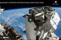 Astronauten ynstallearje 19 meter lang sinnepaniel op ISS (filmke)
